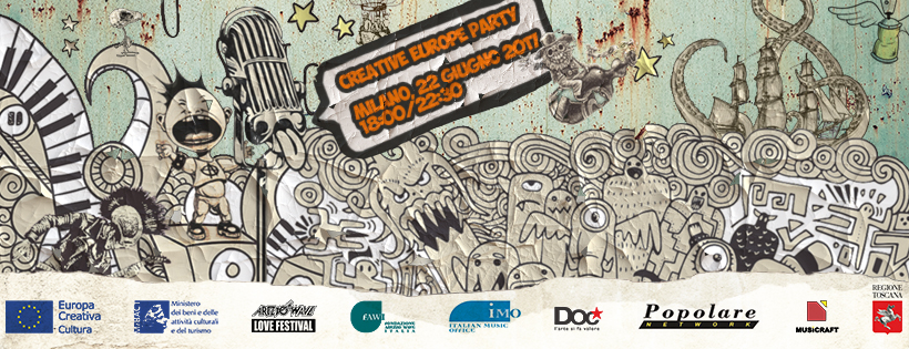 Il banner dell'infoday Creative Europe Party a Milano