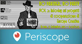 Banner dell&#39evento NO PARTNER, NO PARTY Vol 2, con il logo di Periscope